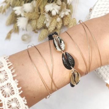 bracelets tendance coquillage cauri noir fait main bijoux créateur