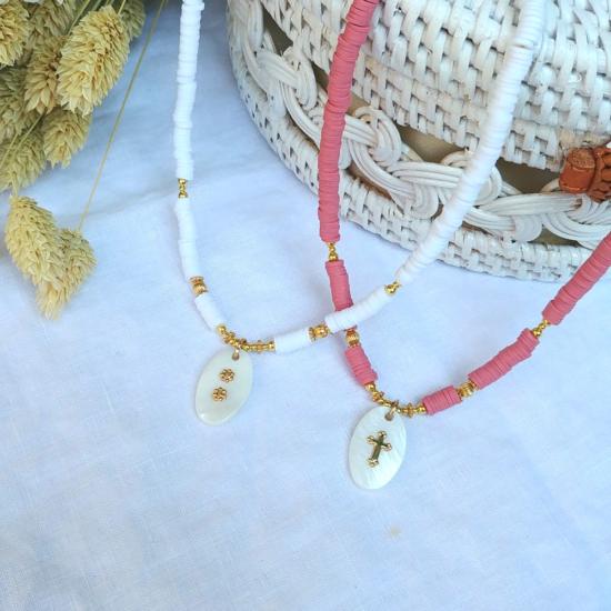 bijoux tendance collier heishi surfer pendentif nacre bijoux créateur made in france