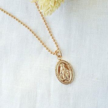 collier pendentif médaille miraculeuse sainte vierge marie madone plaqué or