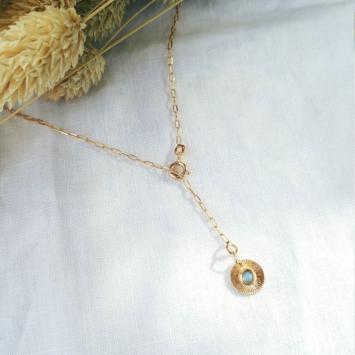 collier Y cravate pendentif médaille soleil pierre de lune plaqué or