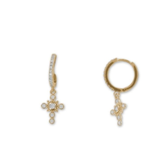 bijoux tendance boucles d'oreilles mini créoles plaqué or zircon bohème croix rock