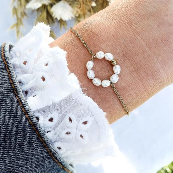 bracelet tendance cercle rond perles or fait main bijoux créateur