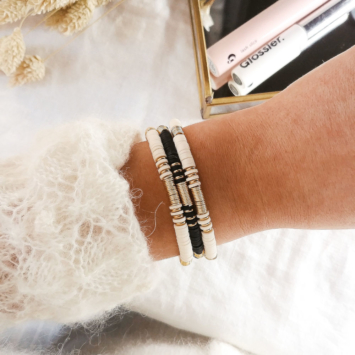 bracelet heishi perles or bohème