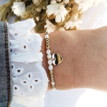 bracelet tendance perles coeur or fait main bijoux créateur