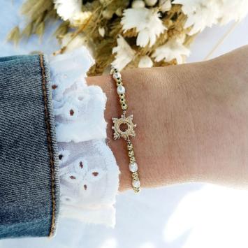 bracelet tendance perles etoile boheme or fait main bijoux créateur