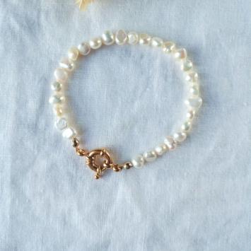 bracelet tendance perles fermoir xl bouée or fait main bijoux créateur