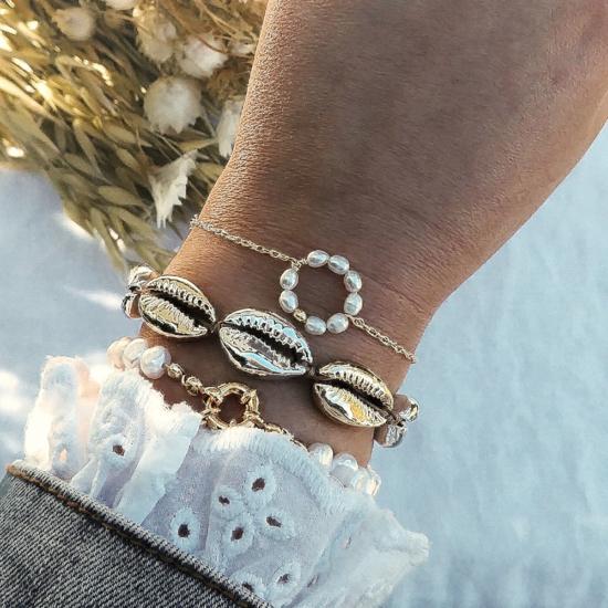 bracelets tendance coquillage argent et or bracelet cercle perles fait main bijoux créateur