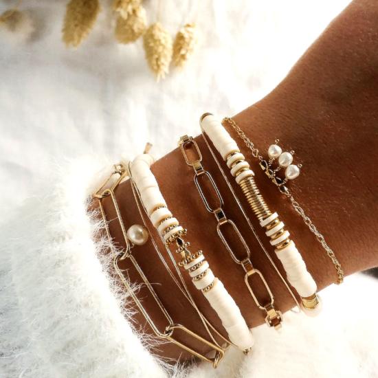 bracelets tendance fait main bracelet heishi bohème bracelet perles eau douce blanches bijoux créateur