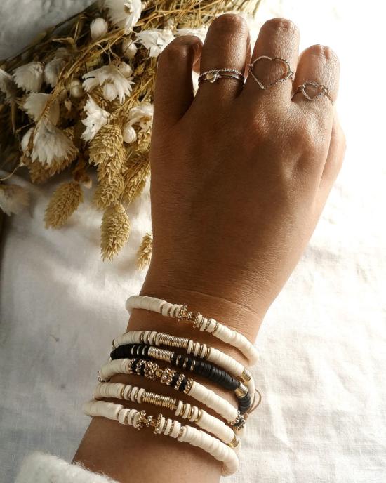 bracelets tendance fait main bracelet heishi surfer bohème bague coeur bijoux créateur