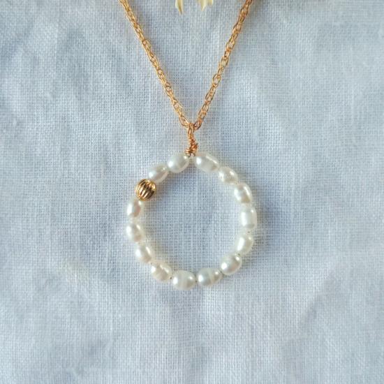 collier tendance cercle rond perles or fait main bijoux créateur