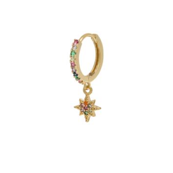 bijoux boucles d'oreilles plaqué or petites créoles galaxie etoile scintillante accumulation