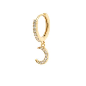 bijoux boucles d'oreilles plaqué or petites créoles galaxie lune accumulation