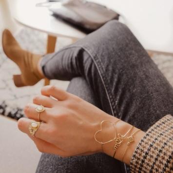 bijoux créateur tendance bohème 7 bracelet jonc semainier plaqué or perle pyrite fin pierre gemme intemporel look instagram manon mgch_