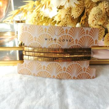 bracelets tendance perles plates en verre carrées japonaises miyuki or bronze beige bijoux créateur france fait main