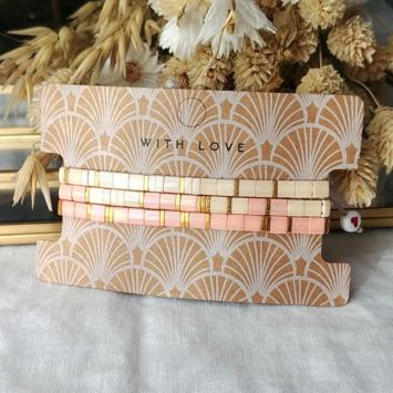 bracelets tendance perles plates en verre carrées japonaises miyuki or rose beige bijoux créateur france fait main