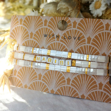 bracelets tendance perles plates en verre carrées japonaises miyuki or blanc bijoux créateur france fait main