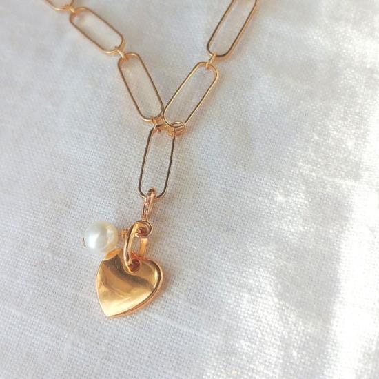 collier grand maillons xl tendance néo bourgeoise perle pendentif coeur perles or fait main bijoux créateur