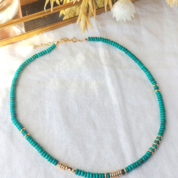 collier heishi surfer howlite turquoise or