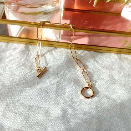 bracelet grand maillons xl fermoir T tendance néo bourgeoise or fait main bijoux créateur