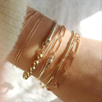 bracelet serpent jonc grand maillons xl tendance néo bourgeoise or fait main bijoux créateur