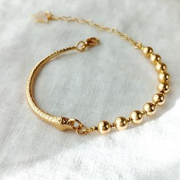 bracelet serpent jonc grosse perles or tendance néo bourgeoise or fait main bijoux créateur