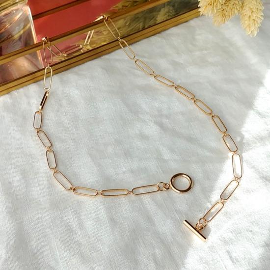 collier grand maillons xl fermoir T tendance néo bourgeoise or fait main bijoux créateur