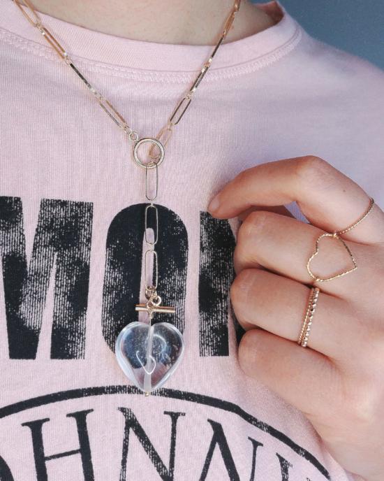 collier grand maillons xl fermoir T pendentif coeur tendance néo bourgeoise or fait main bijoux créateur