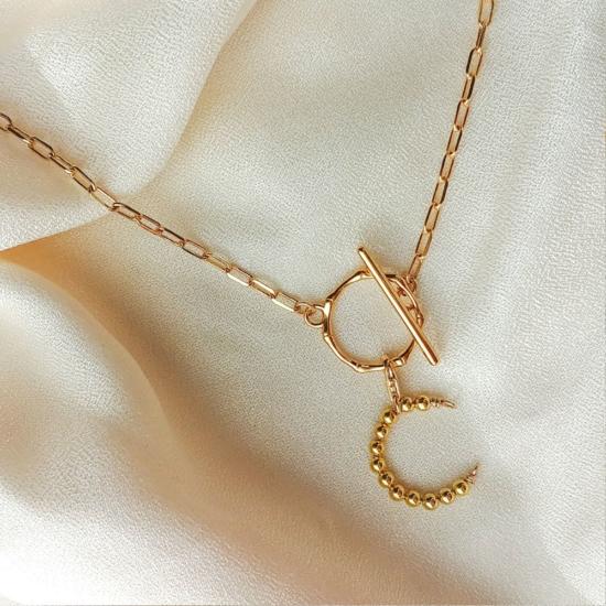 collier grand maillons xl fermoir T tendance néo bourgeoise pendentif lettre initiale or fait main bijoux créateur