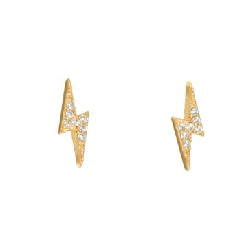 bijoux petites boucles d'oreilles piercing puce éclair rock brillante zircon or