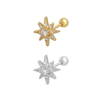 bijoux petites boucles d'oreilles piercing puce étoile soleil brillante zircon acier inoxydable