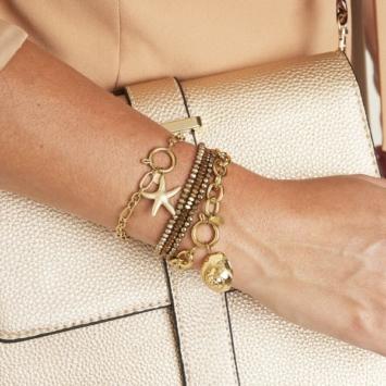 bracelet grand maillons xl pendentif étoile de mer tendance néo bourgeoise or