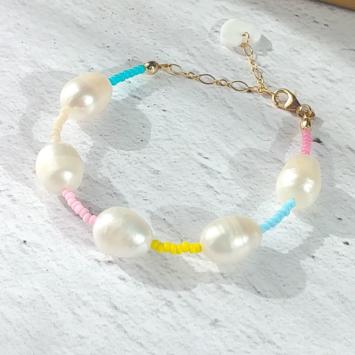 bracelet tendance perles eau douce perles colorées été or fait main bijoux créateur