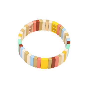 bijoux tendance bracelet perles métal émaillé email mot love bracelet coloré perles carrée plate