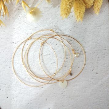 bijoux créateur tendance bohème 7 bracelet jonc semainier plaqué or perle pyrite fin pierre gemme coeur nacre intemporel