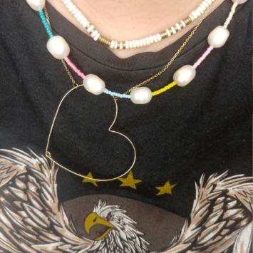 accumulation colliers or tenda heishi perles eau douce collier coeur tendance bijoux créateurs fait main france