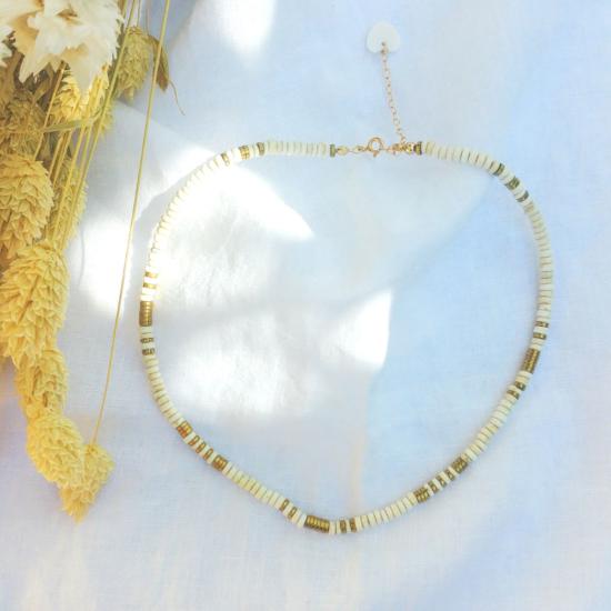 collier heishi blanc pierre semi précieuse fait main bijoux créateur france