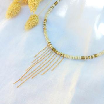 collier heishi blanc avec chaînes pour un look rock pierre semi précieuse fait main bijoux créateur france