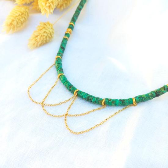 collier heishi pierre semi précieuse avec chaînes pour un look rock pierre semi précieuse fait main bijoux créateur france