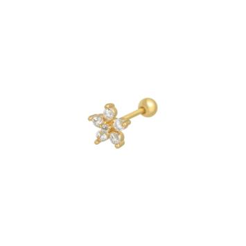 bijoux petites boucles d'oreilles puce fleur brillante zircon or