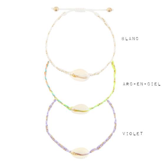 bracelets de cheville tendance coquillage cauri