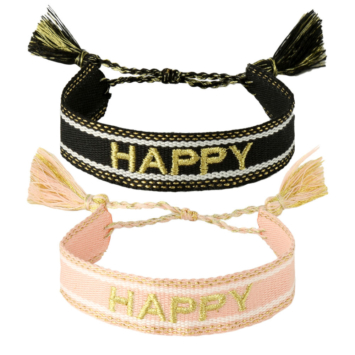 bijoux tendance bracelet brésilien coton tissé mot brodé happy avec pompons