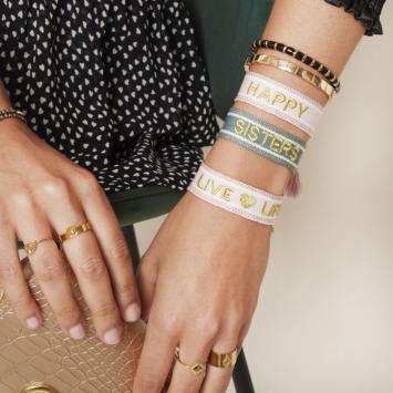 bijoux tendance bracelet brésilien coton tissé mot brodé live life avec pompons