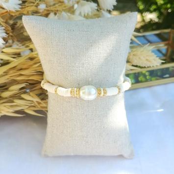 bijoux tendance fait main bracelet heishi perle eau douce surfer bohème bijoux créateur