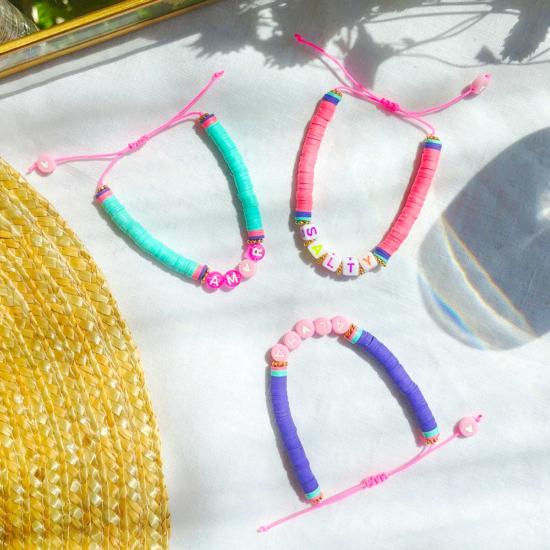 bracelets mot à personnaliser tendance fait main bracelet heishi surfer bohème bijoux créateur