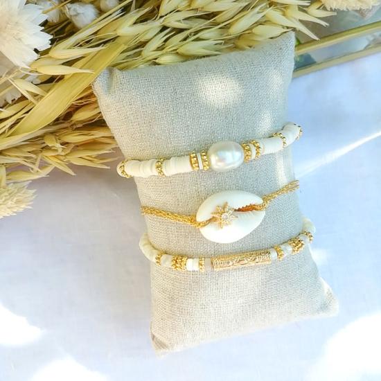 bracelet heishi nacre cauri perle eau douce bijoux or fait main bijoux créateur