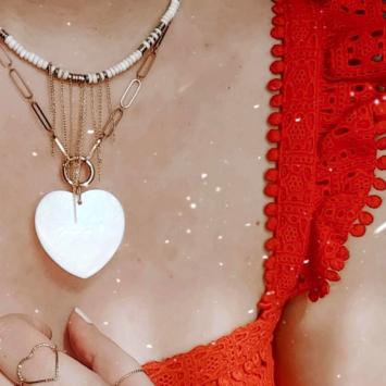 collier maillons xl coeur en nacre collier hesihi blanc bijoux or fait main bijoux créateur français