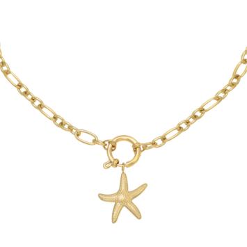 Collier grand maillons xl pendentif étoile de mer tendance néo bourgeoise or