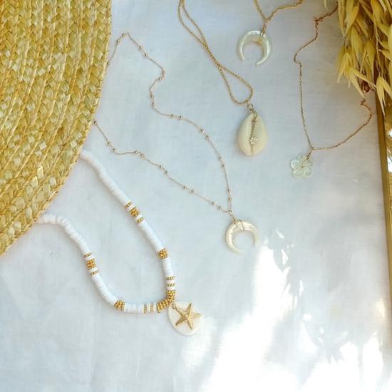 colliers heishi nacre coquillage cowrie cauri bijoux or fait main bijoux créateur