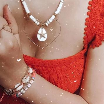 collier heishi surfer bohème blanc étoile de mer bijoux or fait main bijoux créateur français