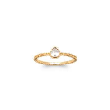 bague anneau goutte brillant or